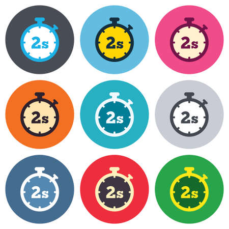 seconds: Timer 2 seconds sign icon. Stopwatch symbol. Colored round buttons. Flat design circle icons set. Vector