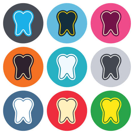 stomatologist: Tooth enamel protection sign icon. Dental toothpaste care symbol. Healthy teeth. Colored round buttons. Flat design circle icons set. Vector