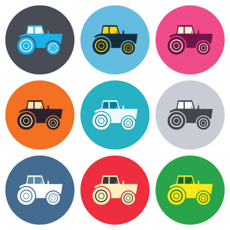 agricultural industry: Tractor sign icon. Agricultural industry symbol. Colored round buttons. Flat design circle icons set. Vector Illustration