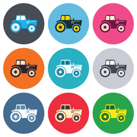 tractor sign: Tractor sign icon. Agricultural industry symbol. Colored round buttons. Flat design circle icons set. Vector Illustration