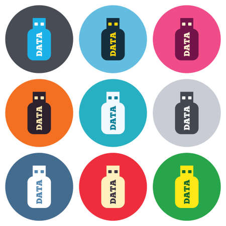 Usb Stick sign icon. Usb flash drive button. Colored round buttons. Flat design circle icons set. Vector Vector