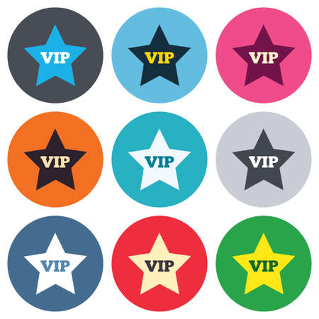 important sign: Vip sign icon. Membership symbol. Very important person. Colored round buttons. Flat design circle icons set. Vector