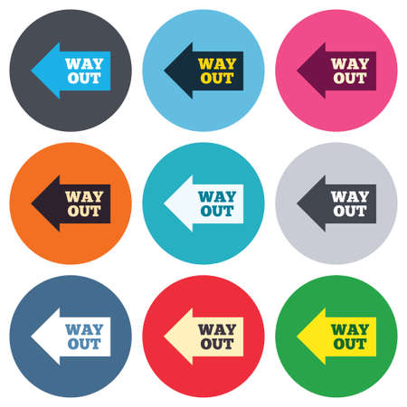 Way out left sign icon. Arrow symbol. Colored round buttons. Flat design circle icons set. Vector Vector