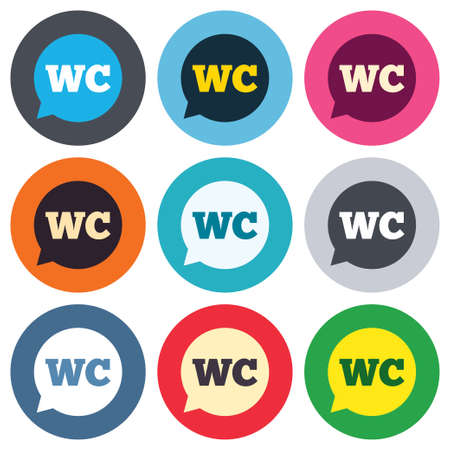 lavatory: WC Toilet sign icon. Restroom or lavatory speech bubble symbol. Colored round buttons. Flat design circle icons set. Vector Illustration