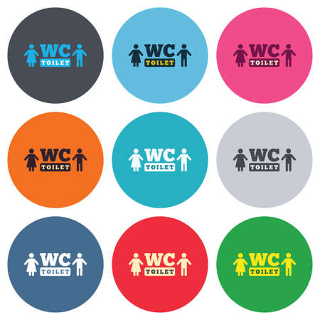 lavatory: WC Toilet sign icon. Restroom or lavatory symbol. Colored round buttons. Flat design circle icons set. Vector Illustration