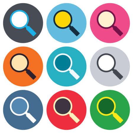 Magnifier glass sign icon. Zoom tool button. Navigation search symbol. Colored round buttons. Flat design circle icons set. Vector Vector