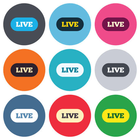 live on air: Live sign icon. On air stream symbol. Colored round buttons. Flat design circle icons set. Vector