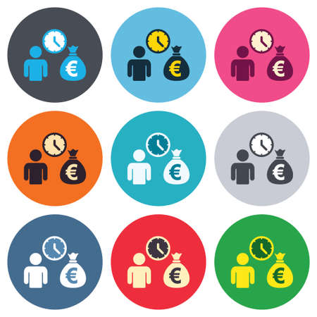 borrow: Bank loans sign icon. Get money fast symbol. Borrow money. Colored round buttons. Flat design circle icons set. Vector