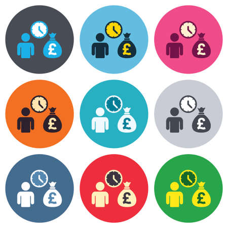 fast money: Bank loans sign icon. Get money fast symbol. Borrow money. Colored round buttons. Flat design circle icons set. Vector