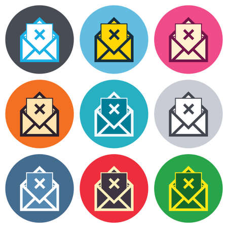 delete icon: Mail delete icon. Envelope symbol. Message sign. Mail navigation button. Colored round buttons. Flat design circle icons set. Vector Illustration