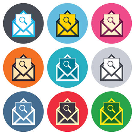 Mail search icon. Envelope symbol. Message sign. Mail navigation button. Colored round buttons. Flat design circle icons set. Vector Vector