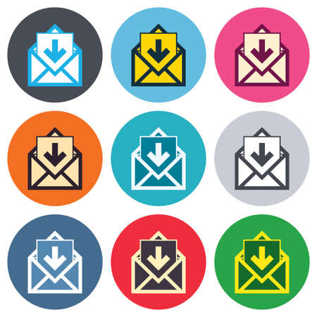 inbox: Mail icon. Envelope symbol. Inbox message sign. Mail navigation button. Colored round buttons. Flat design circle icons set. Vector