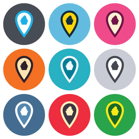 Map pointer food sign icon. Restaurant location marker symbol. Colored round buttons. Flat design circle icons set. Vector Vector