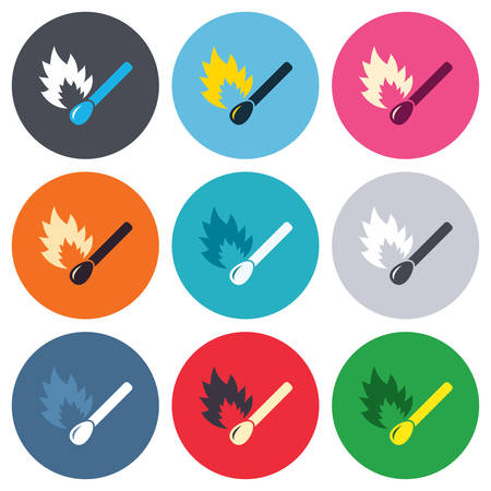 burns: Match stick burns icon. Burning matchstick sign. Fire symbol. Colored round buttons. Flat design circle icons set. Vector Illustration