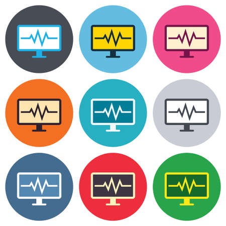 Cardiogram monitoring sign icon. Heart beats symbol. Colored round buttons. Flat design circle icons set. Vector Vector