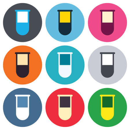 laboratory equipment: Medical test tube sign icon. Laboratory equipment symbol. Colored round buttons. Flat design circle icons set. Vector