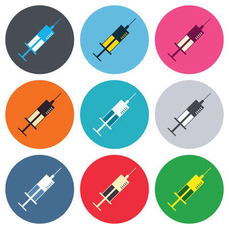 Syringe sign icon. Medicine symbol. Colored round buttons. Flat design circle icons set. Vector Vector