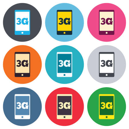 3g: 3G sign icon. Mobile telecommunications technology symbol. Colored round buttons. Flat design circle icons set. Vector Illustration