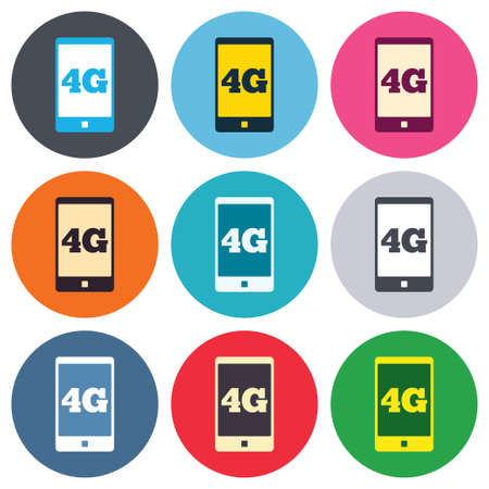 4g: 4G sign icon. Mobile telecommunications technology symbol. Colored round buttons. Flat design circle icons set. Vector