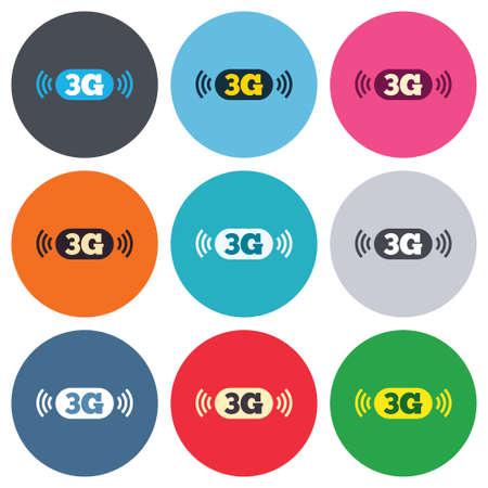 3g: Icono de se�al 3G. Telecomunicaciones m�viles s�mbolo tecnolog�a. Botones de colores redondas. Iconos dise�o c�rculo plano establecen. Vector