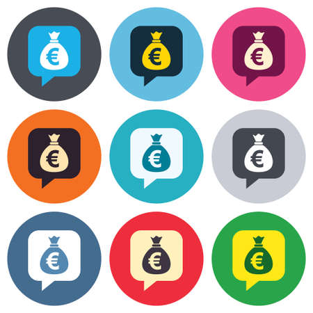 Money bag sign icon. Euro EUR currency speech bubble symbol. Colored round buttons. Flat design circle icons set. Vector Vector