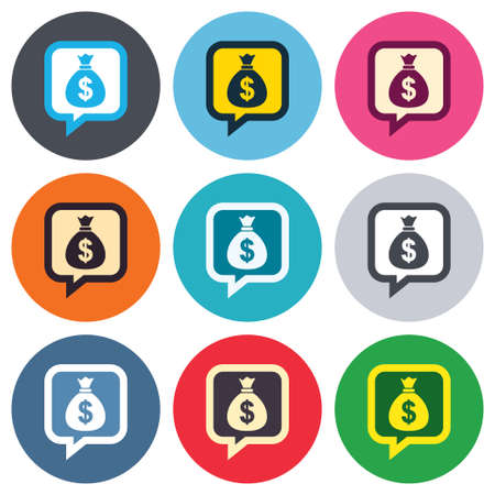 usd: Money bag sign icon. Dollar USD currency speech bubble symbol. Colored round buttons. Flat design circle icons set. Vector