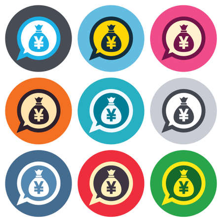 jpy: Money bag sign icon. Yen JPY currency speech bubble symbol. Colored round buttons. Flat design circle icons set. Vector