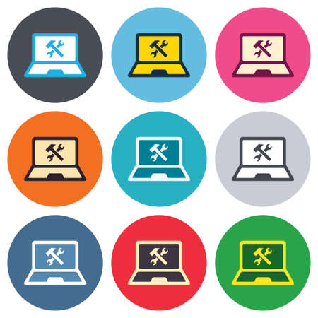 laptop repair: Laptop icono de signo de reparaci�n. Notebook s�mbolo servicio soluci�n. Botones de colores redondas. Iconos dise�o c�rculo plano establecen. Vector Vectores