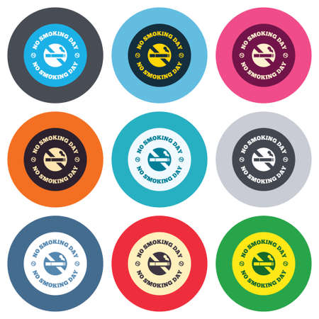 quit smoking: No smoking day sign icon. Quit smoking day symbol. Colored round buttons. Flat design circle icons set. Vector