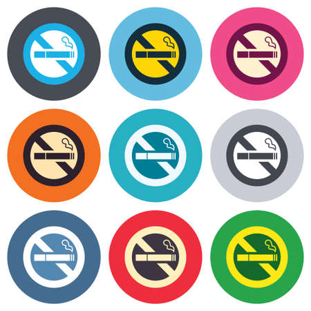 quit smoking: No Smoking sign icon. Quit smoking. Cigarette symbol. Colored round buttons. Flat design circle icons set. Vector Illustration