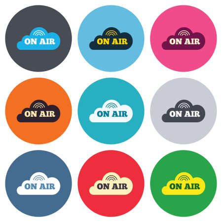 on air sign: On air sign icon. Live stream symbol. Colored round buttons. Flat design circle icons set. Vector