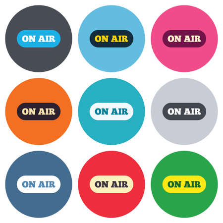 live on air: On air sign icon. Live stream symbol. Colored round buttons. Flat design circle icons set. Vector