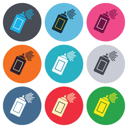aerosol can: Graffiti spray can sign icon. Aerosol paint symbol. Colored round buttons. Flat design circle icons set. Vector Illustration