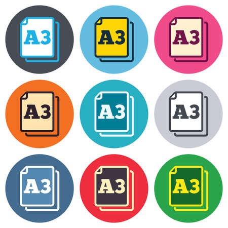 a3: Paper size A3 standard icon. File document symbol. Colored round buttons. Flat design circle icons set. Vector