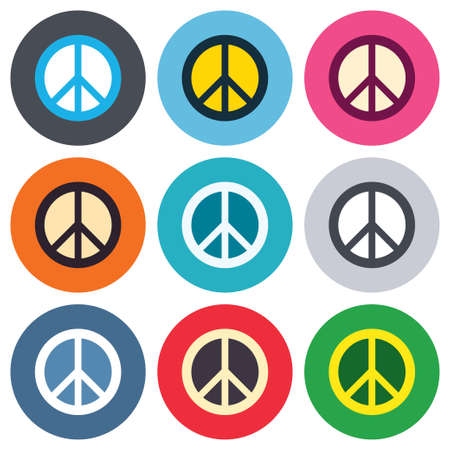 pacificist: Peace sign icon. Hope symbol. Antiwar sign. Colored round buttons. Flat design circle icons set. Vector Illustration