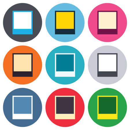 photography frame: Photo frame template sign icon. Empty polaroid photography symbol. Colored round buttons. Flat design circle icons set. Vector