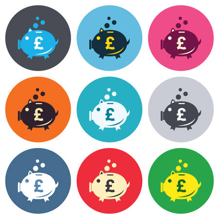 pound symbol: Piggy bank sign icon. Moneybox pound symbol. Colored round buttons. Flat design circle icons set. Vector Illustration