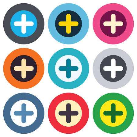 Plus sign icon. Positive symbol. Zoom in. Colored round buttons. Flat design circle icons set. Vector Vector