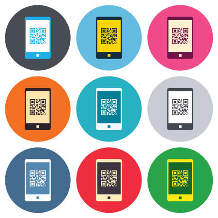 coded: Qr code sign icon. Scan code in smartphone symbol. Coded word - success! Colored round buttons. Flat design circle icons set. Vector Illustration
