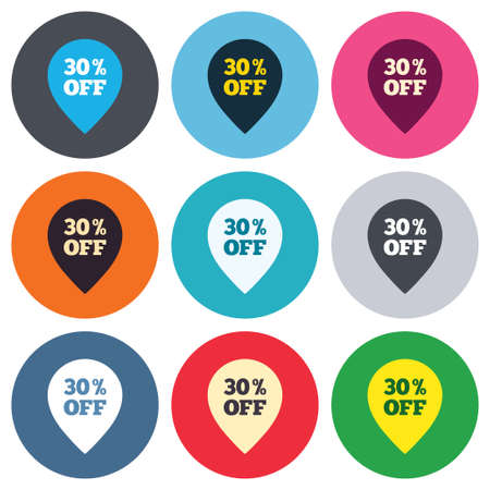 thirty percent off: 30% sale pointer tag sign icon. Discount symbol. Special offer label. Colored round buttons. Flat design circle icons set. Vector