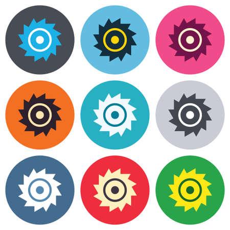 cutting blade: Sierra circular icono de la muestra de la rueda. Cortar s�mbolo de la cuchilla. Botones de colores redondas. Iconos dise�o c�rculo plano establecen. Vector Vectores
