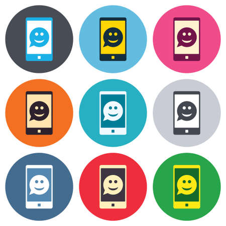 Selfie smile face sign icon. Self photo symbol. Smiley speech bubble. Colored round buttons. Flat design circle icons set. Vector Vector