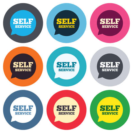 maintenance symbol: Self service sign icon. Maintenance symbol in speech bubble. Colored round buttons. Flat design circle icons set. Vector Illustration
