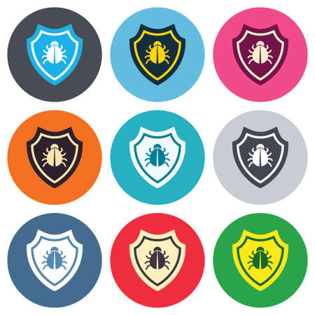 Shield sign icon. Virus protection symbol. Bug symbol. Colored round buttons. Flat design circle icons set. Vector Vector