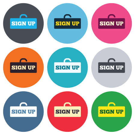 lock up: Sign up sign icon. Registration symbol. Lock icon. Colored round buttons. Flat design circle icons set. Vector Illustration