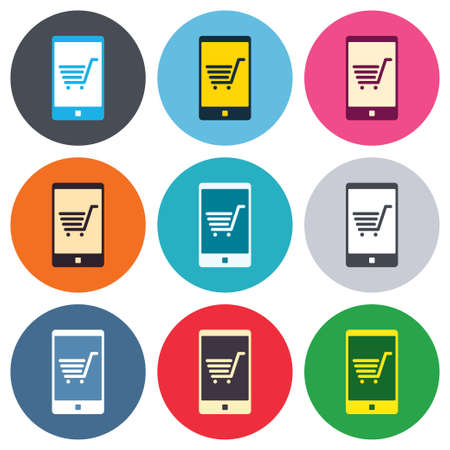 Smartphone with shopping cart sign icon. Online buying symbol. Colored round buttons. Flat design circle icons set. Vector Vector