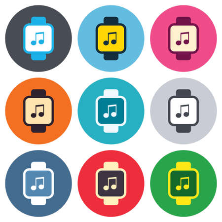 Smart watch sign icon. Wrist digital watch. Musical note symbol. Colored round buttons. Flat design circle icons set. Vector Vector