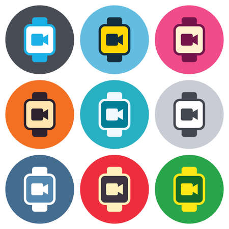 watch video: Smart watch sign icon. Wrist digital watch. Video camera symbol. Colored round buttons. Flat design circle icons set. Vector
