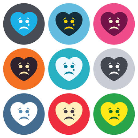 tear: Sad heart face with tear sign icon. Crying chat symbol. Colored round buttons. Flat design circle icons set. Vector Illustration