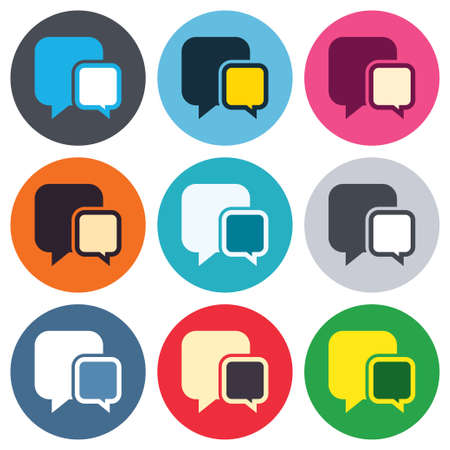 communication icons: Chat sign icon. Speech bubbles symbol. Communication chat bubbles. Colored round buttons. Flat design circle icons set. Vector